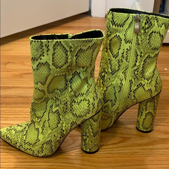 Shoes   Lime Green Snakeskin Booties